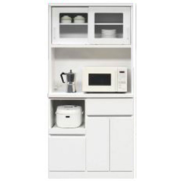 \ポイント増量&お得クーポン/キッチンボード レンジボード 食器棚「オセロ」 90cm幅 2色対応 開梱設置 送料無料