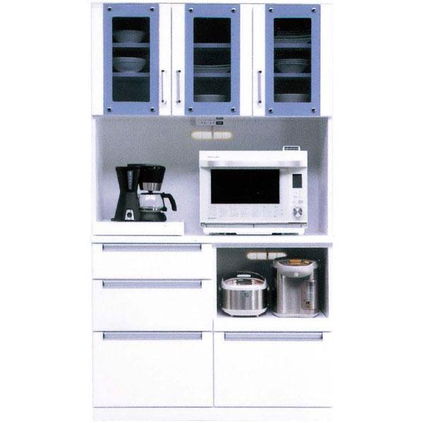 \ポイント増量&お得クーポン/キッチンボード オープン食器棚「レイン」 105cm幅 ホワイト開梱設置送料無料