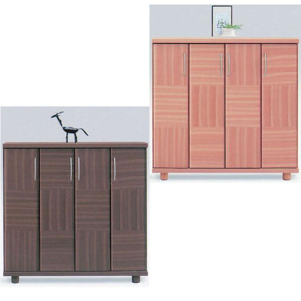シューズボックス 下駄箱 ロータイプ 国産 2色対応 115cm幅 「シャルル」開梱設置 送料無料