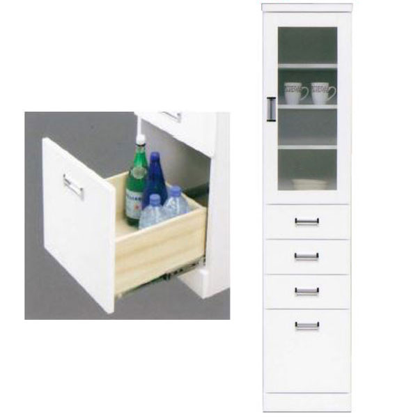 隙間家具 キャビネット「バニラ-A」 40cm幅 ホワイト送料無料