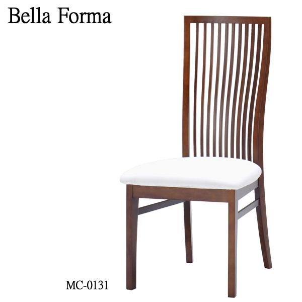 ミキモク BELLA FORMA ベラフォーマダイニングチェア MC-0131 WNAブナ材 木製 PVC レザー ホワイト 送料無料
