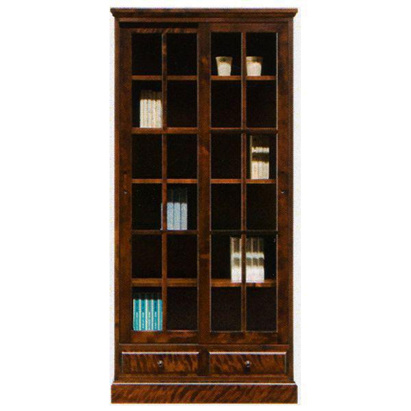 本棚 書棚 民芸家具引き戸 完成品 85cm幅「樹氷」 開梱設置 送料無料