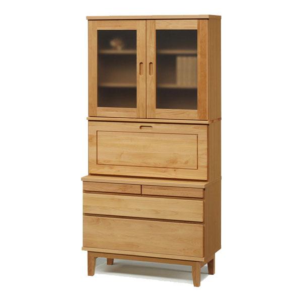【開梱設置】ライティングビューロー・上置 デスク 机 戸棚 書棚「モニカ」 90cm幅