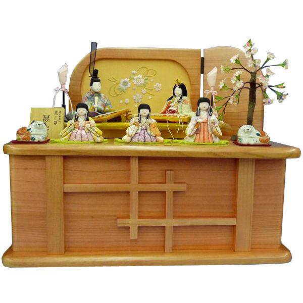 雛人形 ひな人形 木目込み人形柿沼東光作 五人収納飾り 「夢桜」 木目込人形 お雛様