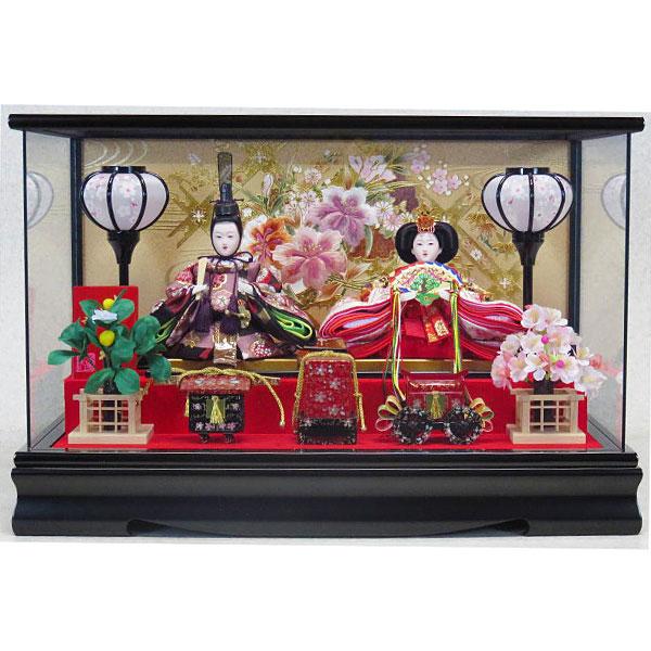 雛人形 ひな人形 ケース飾り 親王飾り 節句送料無料 三月 雛飾り ひな祭り コンパクトかわいい 黒塗 パロラマ 51X28X33cm お雛様