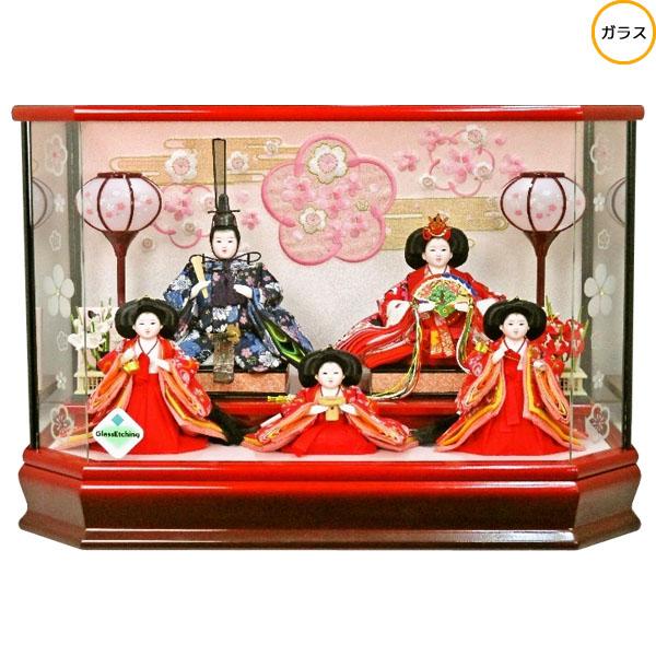 雛人形 ひな人形 衣装着人形 ガラスケース五人飾り 五人ケース飾り 17-5-34 送料無料 お雛様
