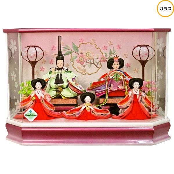 【エントリーでポイント最大33倍!】 雛人形 ひな人形 衣装着人形 ガラスケース五人飾り 五人ケース飾り 17-5-42 送料無料 お雛様
