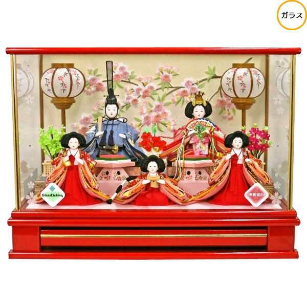 【ポイント最大33倍&お得クーポン】 雛人形 ひな人形 衣装着人形 ガラスケース五人飾り 五人ケース飾り 17-5-48 送料無料 お雛様