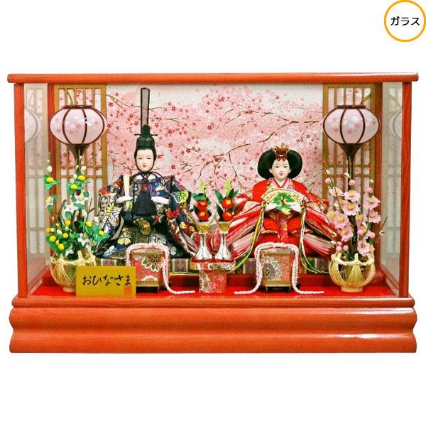 【ポイント最大33倍&お得クーポン】 雛人形 ひな人形 衣装着人形 ガラスケース親王飾り 親王ケース飾り 18-2-38 送料無料 お雛様