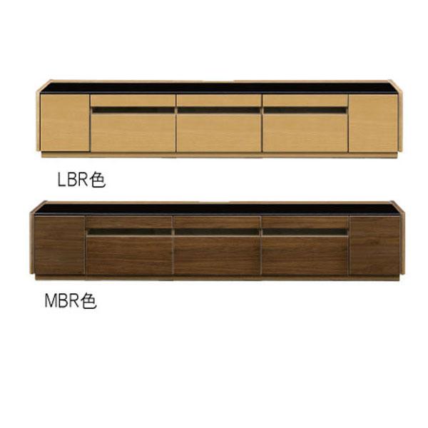 テレビボード テレビ台 TVボード 「ファルコ」210cm幅 ローボード ブラウン 強化ガラス 収納開梱設置 デッキ