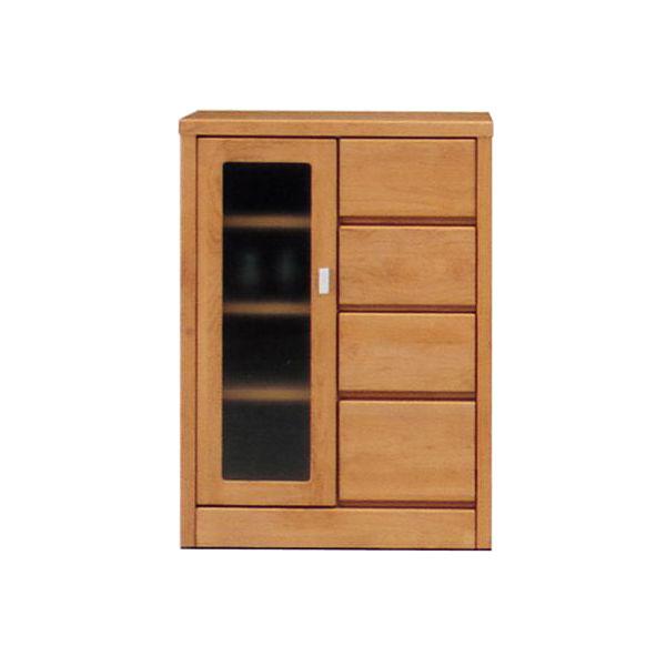 サイドボード 飾り棚 キャビネット完成品 国産 ブラウン ナチュラル 60cm幅「ティアラ」送料無料