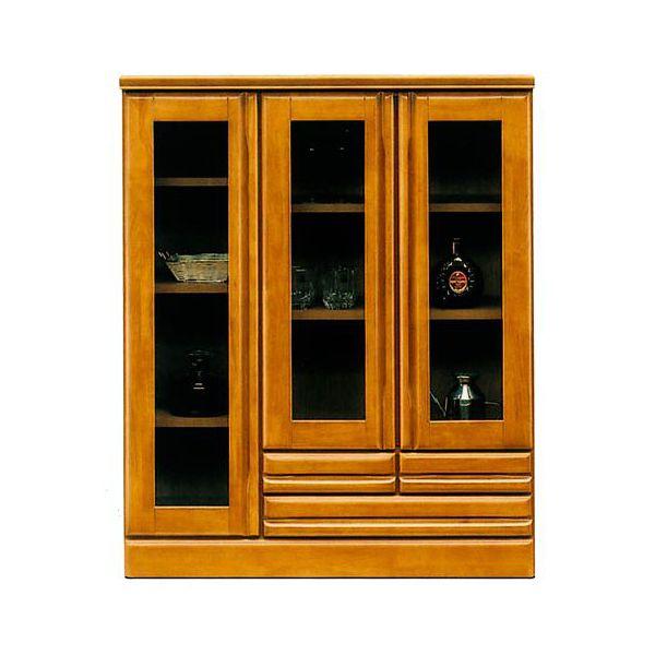 サイドボード キャビネット完成品 飾り棚 国産ブラウン 90cm幅 「ジェロ」開梱設置 送料無料