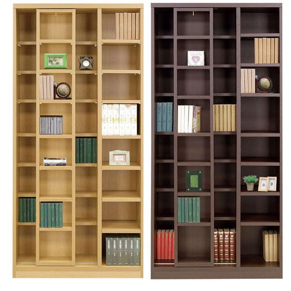 本棚 書棚 フリーボード 85cm幅ブラウン スライド書棚 「コミック」開梱設置 送料無料
