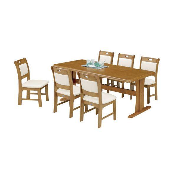 テーブル180幅 天厚40mm固定椅子ダイニング7点セット【モルガン】送料無料