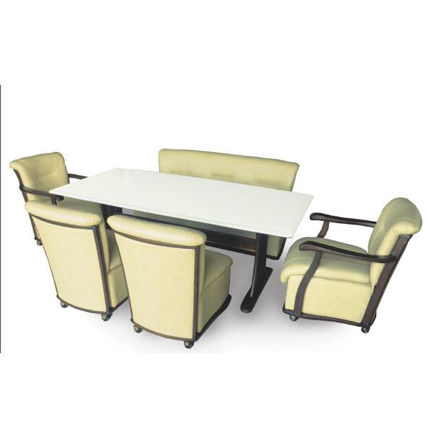【4/9~ポイント増量&お得クーポン】 組み立てします 送料無料 開梱設置ダイニングテーブルセットダイニングセット6点セット「シャンテ-U」 椅子キャスター付き 6人掛け
