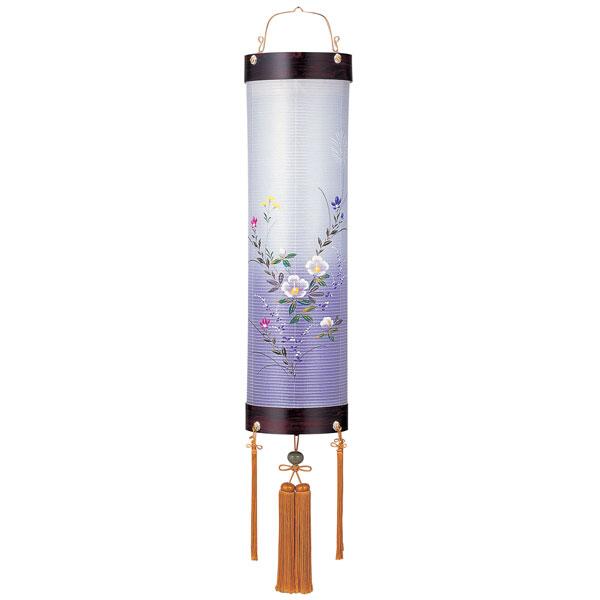 盆提灯 絹張住吉 紫壇調二重張 天水芙蓉 8番ボール紫壇・風鎮付・電気式 絹張