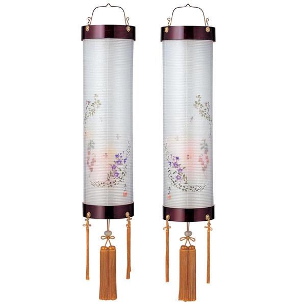 盆提灯 絹張住吉 ワイン二重絵 向い合せほおずき 9番木製・風鎮付・電気式 対柄 一対入り