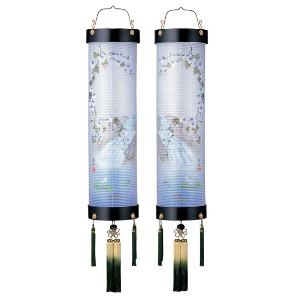 お盆には、故人を偲んで盆提灯を飾りましょう。 盆提灯 絹張住吉 伝統塗黒二重絵 向い合せ蔦に水鳥 9番木製・風鎮付・電気式 対柄 一対入り