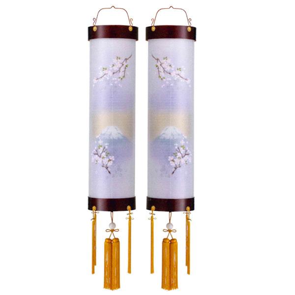 お盆には、故人を偲んで盆提灯を飾りましょう。 盆提灯 絹張住吉 桜二重絵 向い合せ富士に桜 9番木製・風鎮付・電気式 対柄 一対入り