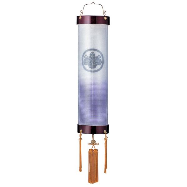 お盆には、故人を偲んで盆提灯を飾りましょう。 \ポイント増量お得クーポン/ 盆提灯 絹張住吉 ワイン二重張 紫ボカシ 9番木製・風鎮付・電気式 家紋入れサービス