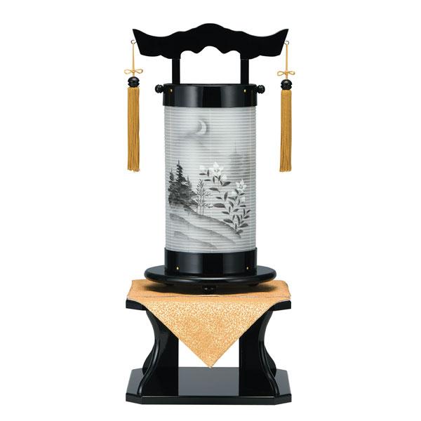 盆提灯 法明燈 黒塗絹二重絵 山水月華 40号木製・台付・電気式 完成品