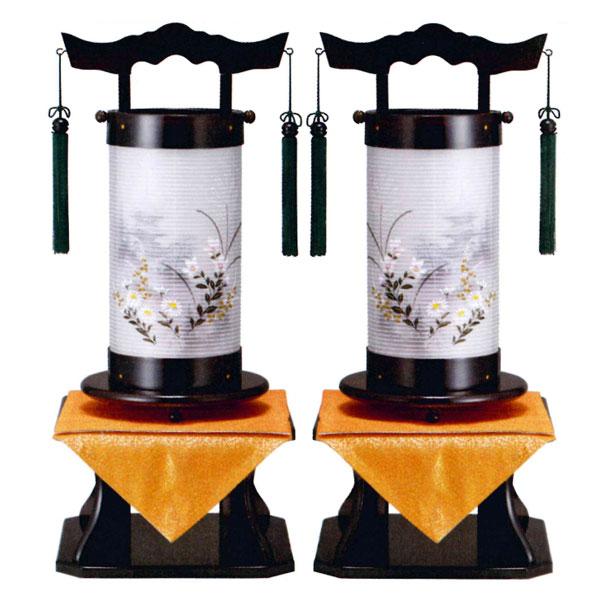 盆提灯 法明燈 黒檀調 絹二重絵 向い合せ 水墨塔柄 40号木製・台付・電気式 一対入り 完成品