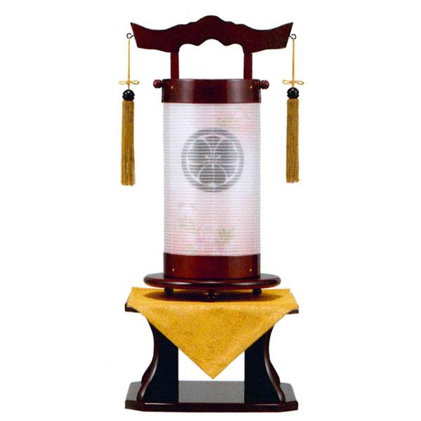 床に置いて飾る、組立不要の提灯です。 盆提灯 法明燈 ワイン塗 絹二重張 桜ボカシ 40号木製・台付・電気式 完成品 家紋入れサービス