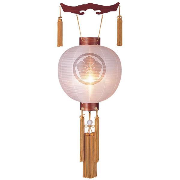 お盆には、故人を偲んで盆提灯を飾りましょう。 盆提灯 御殿丸 絹張特八丸 ケヤキ調無地 風鎮付電気式/電池式LED 家紋入れサービス