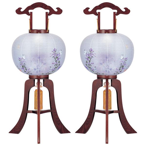 お盆には、故人を偲んで盆提灯を飾りましょう。 盆提灯 絹張行灯 ワイン二重絵 向い合せ胡蝶 11号木製・風鎮付・電気式 一対入り