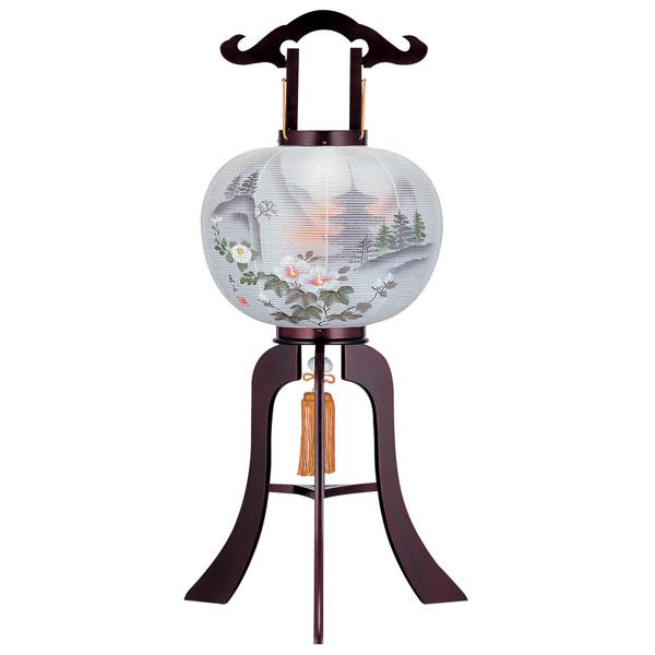盆提灯 大内行灯 ミニ行灯 絹張行灯 桜二重絵 五重の塔 9号木製 風鎮付 絹張 電気式