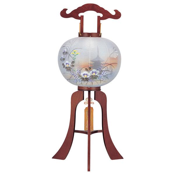【4/9~ポイント増量&お得クーポン】 盆提灯 絹張行灯 ケヤキ調二重絵 五重の塔あやの 12号木製・風鎮付・電気式