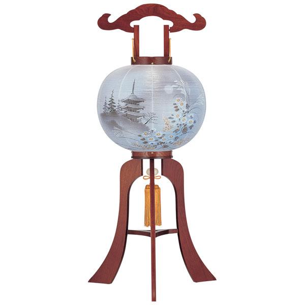 お盆には、故人を偲んで盆提灯を飾りましょう。 \ポイント増量お得クーポン/ 盆提灯 絹張行灯 ケヤキ調二重絵 月三重の塔 12号木製・風鎮付・電気式
