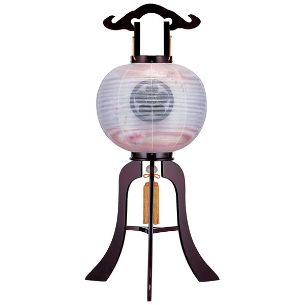お盆には、故人を偲んで盆提灯を飾りましょう。 盆提灯 絹張行灯 ワイン二重張 桜ボカシ 12号木製・風鎮付・電気式 家紋入れサービス
