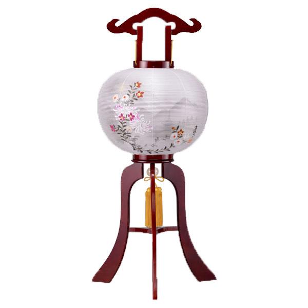 盆提灯 絹張行灯 ワイン二重絵 白菊山水 11号木製・風鎮付・電気式
