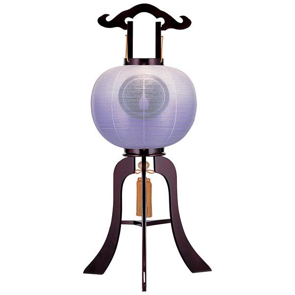 お盆には、故人を偲んで盆提灯を飾りましょう。 特価 盆提灯 絹張行灯 ワイン二重張 紫ボカシ 12号木製・風鎮付・電気式 家紋入れサービス