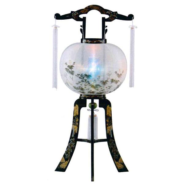 盆提灯 絹張回転行灯 書絵 11号プラスチック製・蒔絵・風鎮付・電気式