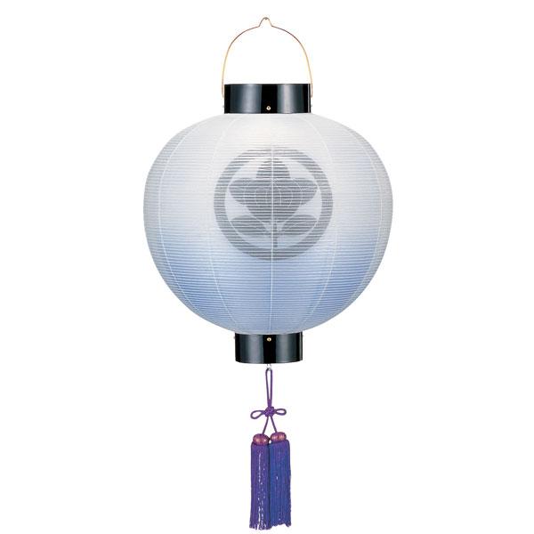 盆提灯 門提灯 絹張尺四丸 二重張水色ボカシ 紫房付電気式/電池式LED 家紋入れサービス
