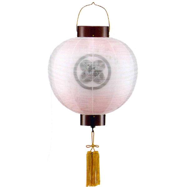 盆提灯 門提灯 絹張尺三丸 ワイン二重張桜ボカシ電気式/電池式LED 家紋入れサービス