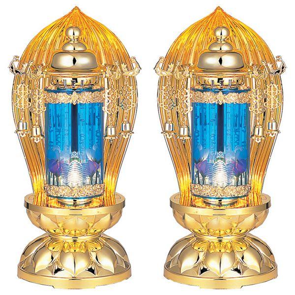 【4/9~ポイント増量&お得クーポン】 盆提灯 ちょうちん バブル灯 霊前灯煌水泡 ブルーゴールド 1対入り