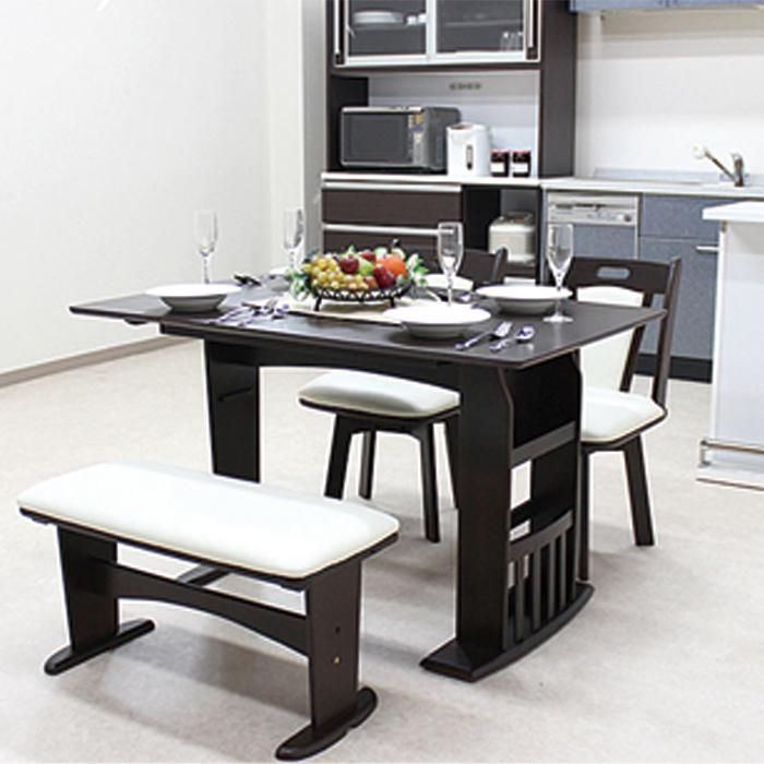 【送料無料】伸長式 ダイニング テーブル チェアー 幅90~120cm 4点セット マスカット ブラウン 伸長テーブル バタフライタイプ ベンチ 食卓テーブル セット 木製