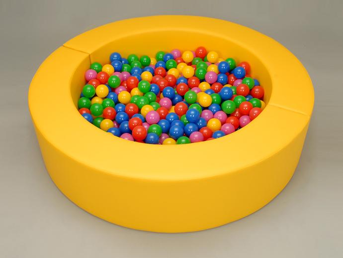 【 ボールプール 】 ミニボールプール 黄 (カラーボール500個付) 【 キッズコーナー ブロック ボールプール クッション 日本製】