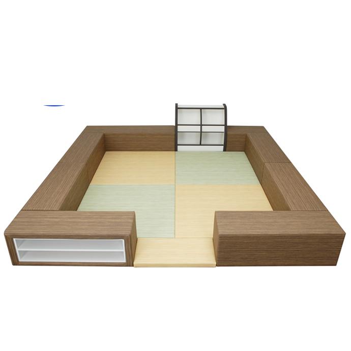 【 キッズコーナー】バンビファンシーセット 木目 2畳 プランI/ベビー 幼児 フロアマット キッズスペース おもちゃばこ