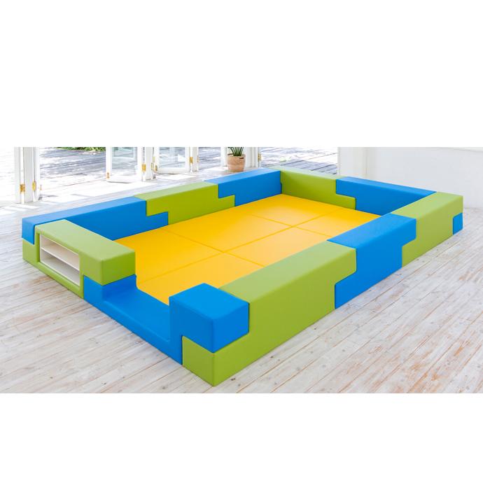 【キッズコーナーセット】 ブロック シリーズ 3畳タイプ 3Dプラン キッズルーム クッション マット 遊び場 ベビー プレイマット