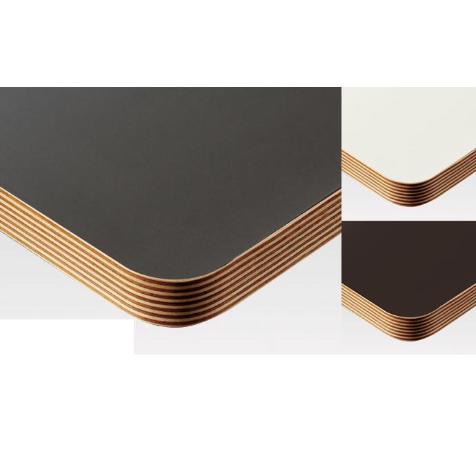 【 テーブル天板のみ 】テーブル天板 メラミン化粧板 角Rウッドテープ巻き 単色 T-0020 W600×D600×t30 【 テーブル天板 パーツ 机 DIY 】