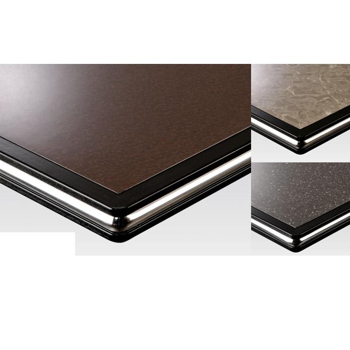 【 テーブル天板のみ 】テーブル天板 メラミン化粧板 シルバーモール付き 黒 T-0025 W600×D600×t35 【 テーブル天板 パーツ 机 DIY 】