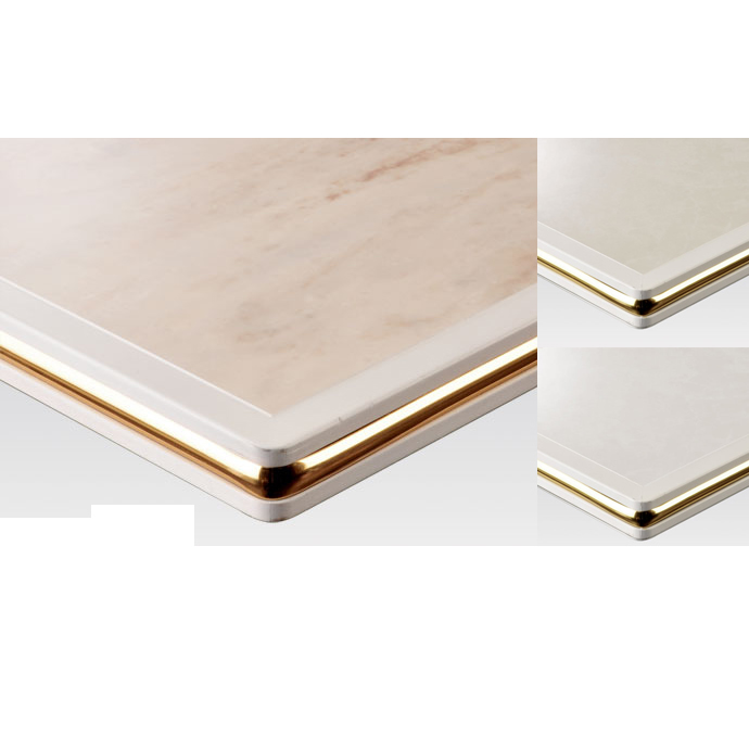 【 テーブル天板のみ 】テーブル天板 メラミン化粧板 ゴールドモール付き 白 T-0028 W600×D600×t35 【 テーブル天板 パーツ 机 DIY 】