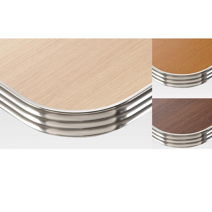 【 テーブル天板のみ 】テーブル天板 メラミン化粧板 アルミエッジシルバー波形 木目 T-0032 W1200×D600×t35 【 テーブル天板 パーツ 机 DIY 】