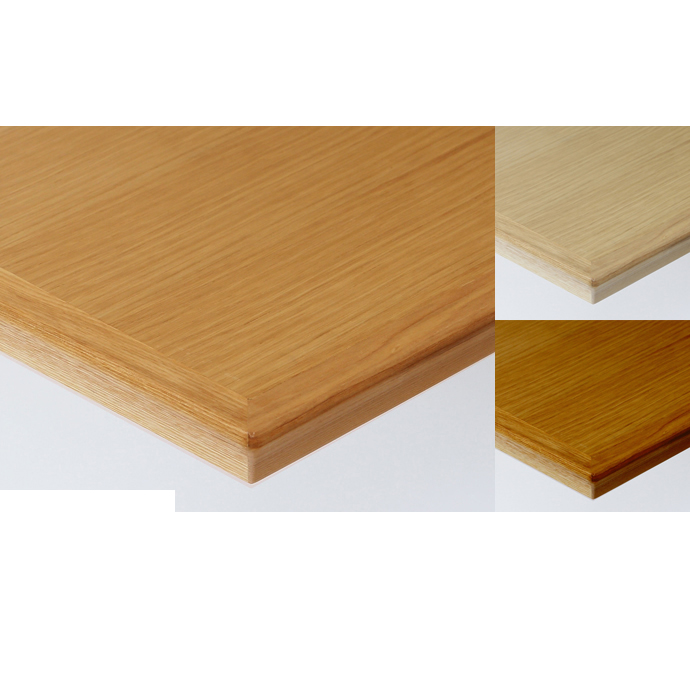 【 テーブル天板のみ 】テーブル天板 天然木 オーク柾目突板 船底型木ブチ付き T-0058 W600×D600×t30 【 テーブル天板 パーツ 机 DIY 】
