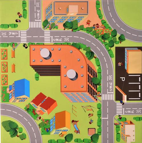 【 フロアマット ベビー 】 交通フロアマット マンション KFM-3 1枚/フロアマット ベビー キッズコーナー 日本製 床マット マットレス