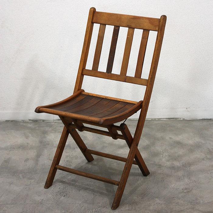 FOLDING CHAIR【海外直輸入中古品】【中古】アンティーク フォールディングチェア 折りたたみ 木製 イス ガーデン antique furniture chair USA